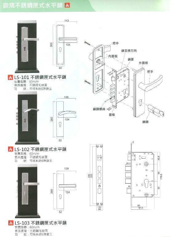 60- 歐規不銹鋼匣式水平鎖
