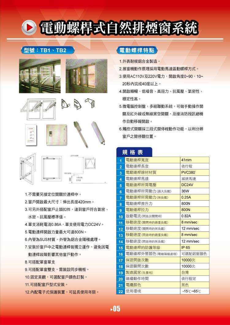 電動螺桿式自然排煙窗系統