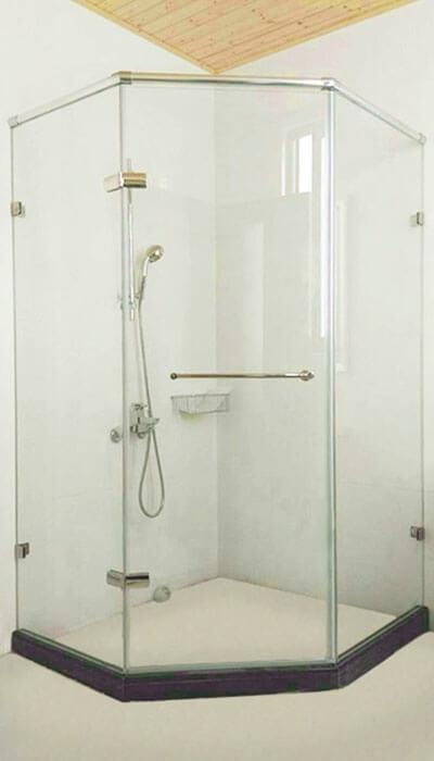 21- WG.GG系列 全不銹鋼自由鉸鍊 無框淋浴門-五角型(鋁質崁入桿)