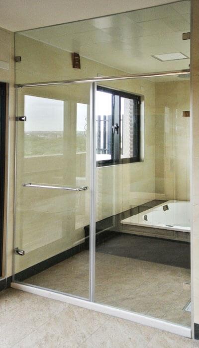 22- WG.GG系列-全不銹鋼自由鉸鍊 無框淋浴門-無框開啟門(衝頂結構)