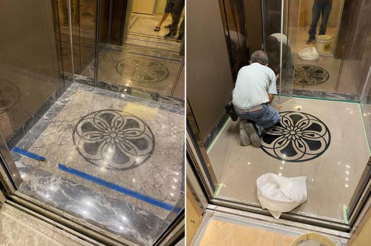 電梯車廂拼花大理石地板