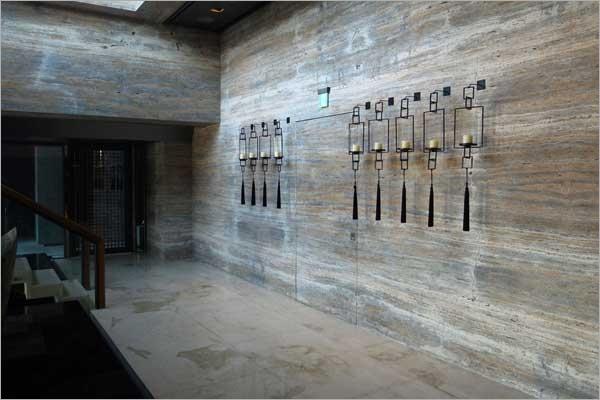 5-銀灰洞石牆面、台中大理石電視牆面