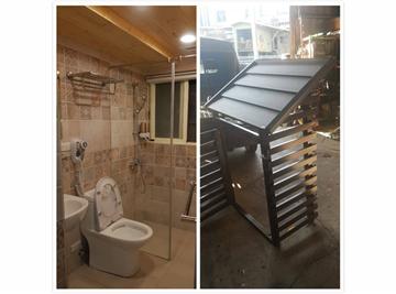 左鐵皮屋浴室右儲物櫃