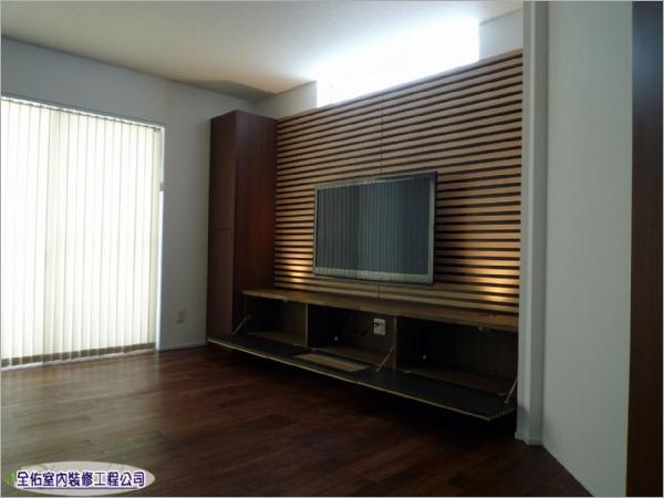 居家客廳電視牆+木作地板裝潢