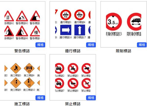 反光標誌、警告標誌、遵行標誌、限制標誌