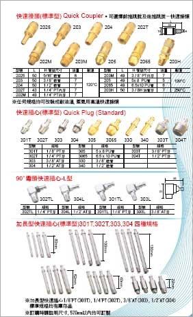 標準型快速接頭/標準型快速插心/90度彎頭快速插心-L型/加長型快速插心(標準型)