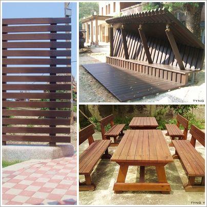 木格栅,平台,木桌椅