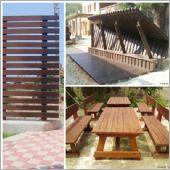 木格柵、木桌椅