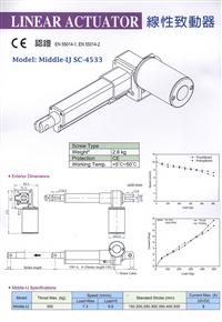 線性致動器SC-4533 規格表