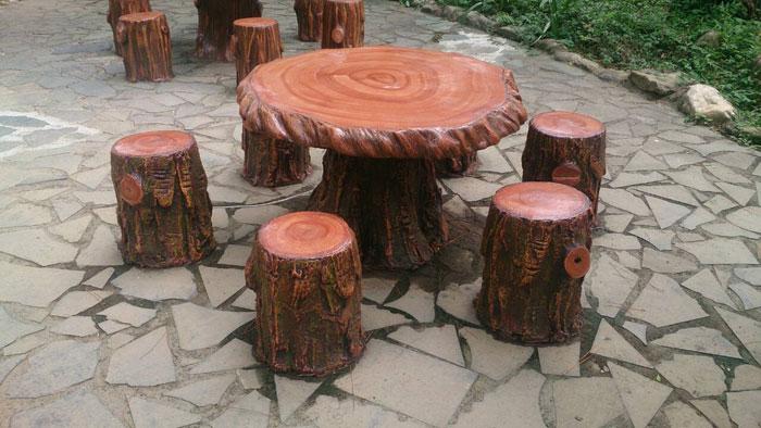 仿木水泥椅